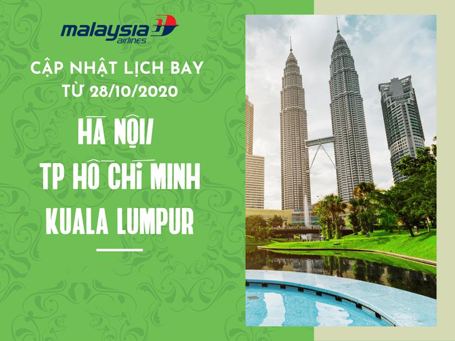 MH cập nhật lịch bay từ Việt Nam đến Malaysia tháng 12/2020