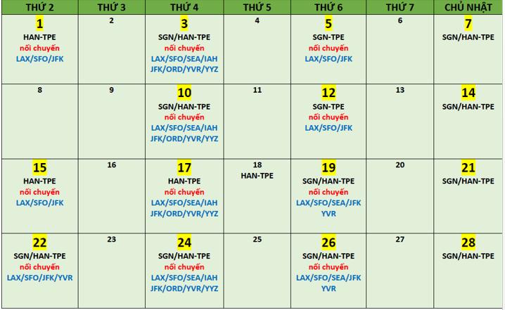 BR cập nhật lịch bay tháng 02 từ SGN/HAN - TPE