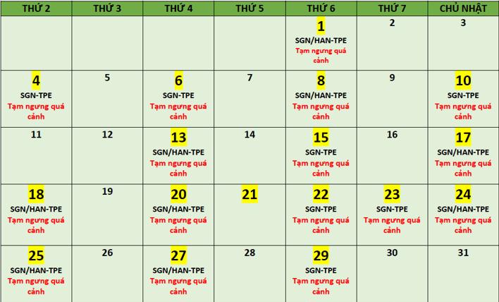 BR cập nhật lịch bay tháng 01 từ SGN/HAN - TPE
